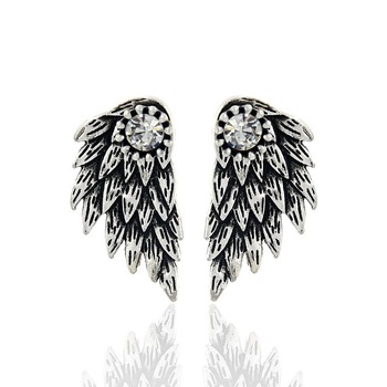 Gothic Silver Color Cool Angel Wings Alloy Stud Earrings Cool Black Feather Earrings Fashion Jewelry