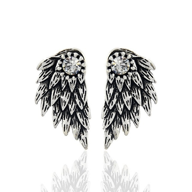 Gothic Silver Black Feather Earrings for Women