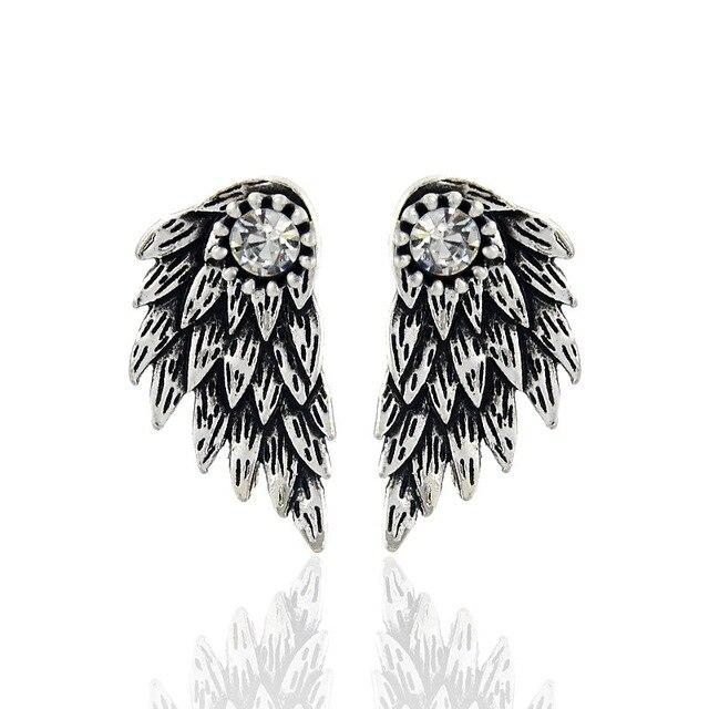 Gothic sølv Farve cool Angel Wings legering manchetknapp øreringe Cool sorte fjer til kvinder For mænd Trendy smykker ...