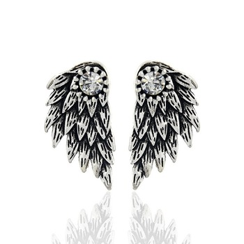 Gothic Silver Color Cool Angel Wings Alloy Stud Earrings Cool Black Feather Earrings for Women Men Fashion Jewelry