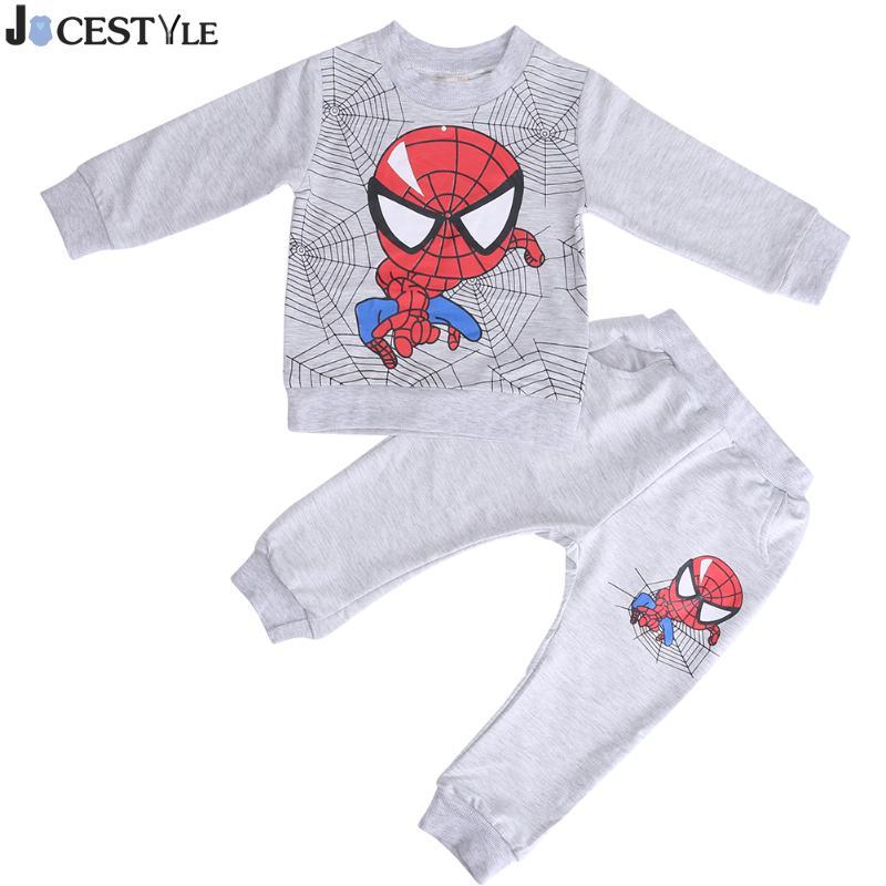 Winter Baby Boys Clothes Set Sports Suit Children Sweatshirt Toddler Spiderman Sportswear Underwear Long-sleeved T-shirt Pants