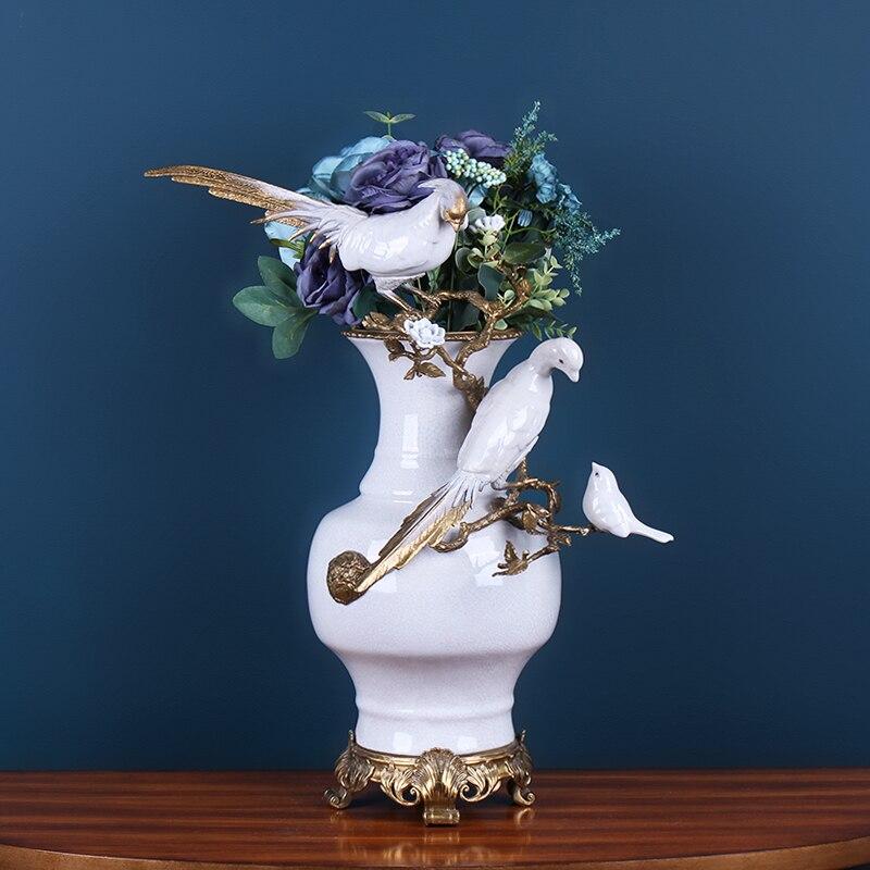 Oiseau perroquet dessiné à la main créatif européen sur une branche Vase en céramique mariage décoratif décoration de la maison accessoires Vase en cuivre