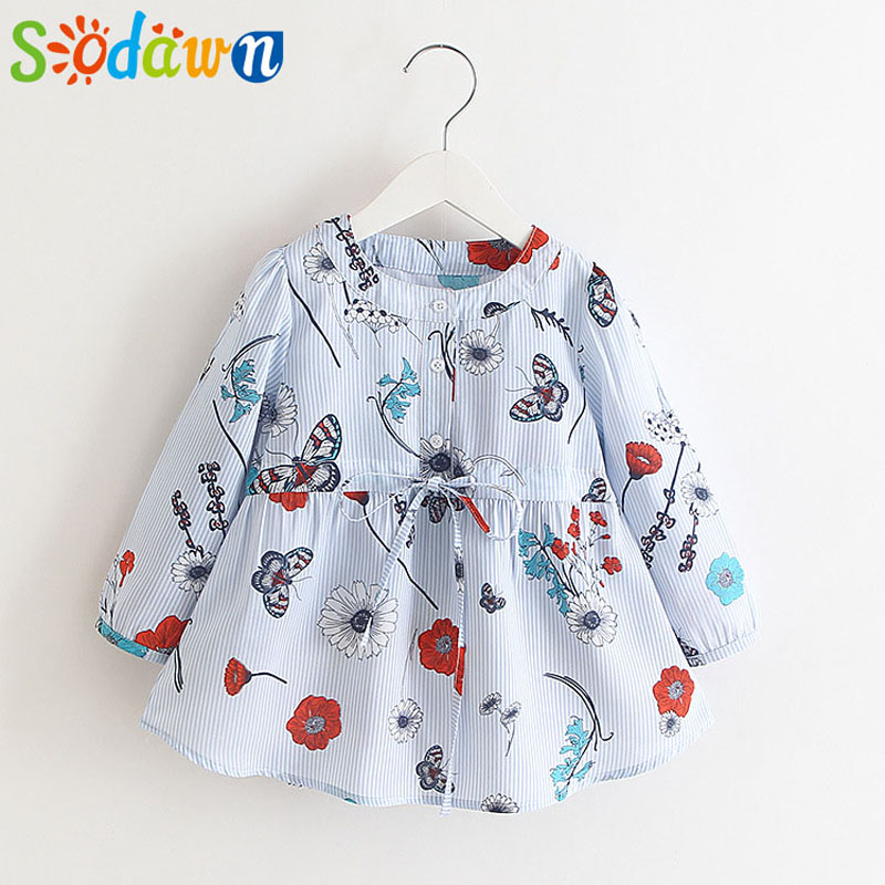 Sodawn New Autumn Europe And United States girl Clothes Sleeves Printed Vertical Striped Dress Children Clothes Girls Dress
