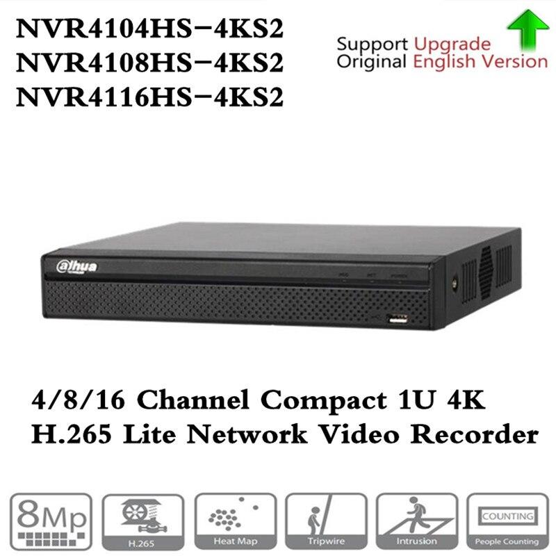 Original ahua Inglês 4 k 16ch NVR NVR4104HS-4KS2 4CH & NVR4108HS-4KS2 8CH & NVR4116HS-4KS2 sem POE Network Video Recorder