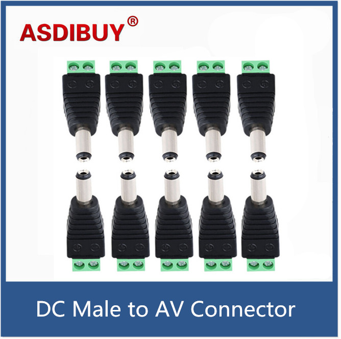 10pcs/lot DC Male to AV Screw Terminal Block Connector kit for Power Adapter/CCTV Accessories Tool 10pcs lot cctv dvr av devices connector accessories phono rca male plug to av screw terminal block connector kit tools