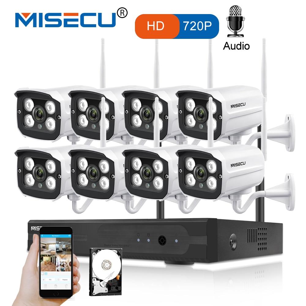 MISECU 8CH NVR WIFI System720P 1MP IP WIFI Camera Audio Record Outdoor Waterproof Plug Play Wireless P2P Night CCTV Security misecu easy installation plug