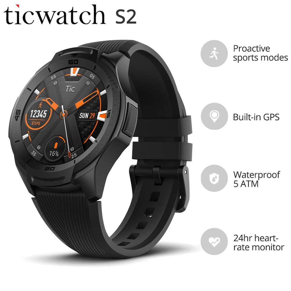 Ticwatch S2 Relógio Inteligente Build-in GPS Assistir Homens 5ATM OS pelo Google 24hr Coração-taxa de Desgaste À Prova D' Água monitorar Vários Mostradores de Relógio