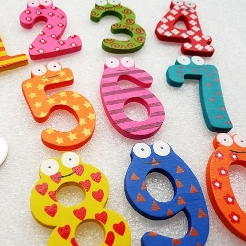 10 unids/set Historieta Encantadora Número 0 ~ 9 Pegatinas de Pared para Niños D