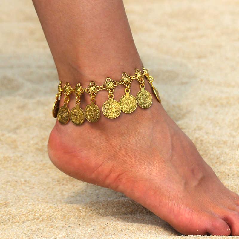 Винтаж древних цвета: золотистый, Серебристый браслет ног Ювелирные Браслеты ножной браслет для Для женщин девушка лодыжки ног цепь очарование монет пляжная Бохо украшения