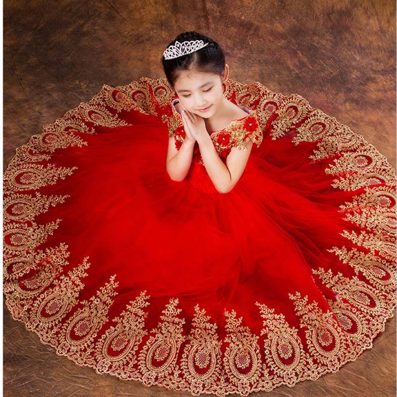 Exquisite Embroidery Children princess costumes for Wedding Flower Girl Tutu piano performance birthday dress princess cosplay