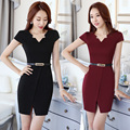 2016 Summer Lady Suit Dress Office Pencil Dress S-4XL Cap Sleeve Asymmetrical Neck Short Pencil Dress Professional Workwear