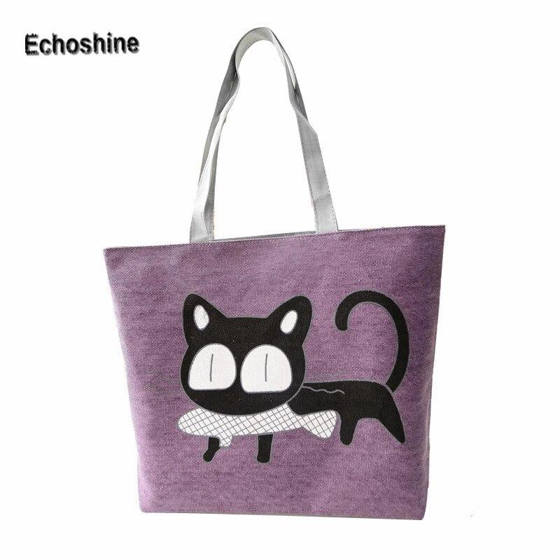 New Trend American Apparel Canvas Shoulder Bag Cat Bag Hot Sale Woman Messenger Handbag Big Shopping Bag A1000