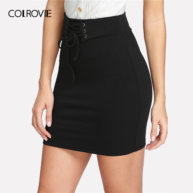 Image 3 - COLROVIE Black Solid Lace Up Waist Bodycon Casual Skirt Women Clothing 2019 Summer Rock Korean Mini Skirt Club Sexy Lady Skirts-in Skirts from Women's Clothing