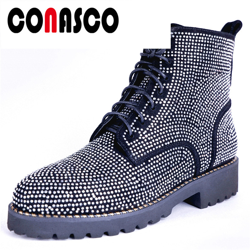 CONASCO Sexy Brand Women Rhinestone Motorcycle Boots High Heels Lace Up Short Martin Shoes Woman Ladies Cow Suede Ankle Boots  CONASCO Sexy Brand Women Rhinestone Motorcycle Boots High Heels Lace Up Short Martin Shoes Woman Ladies Cow Suede Ankle Boots