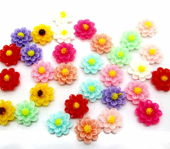 50Pcs Mixed Resin Rose Flower Decoration Crafts Flatback Cabochon Scrapbooking Fit Hair Clips Embellishments Beads Diy
