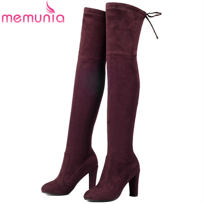 MEMUNIA Large size 34-43 over the knee boots for women fashion shoes woman high heels boots flock solid stretch boots стоимость