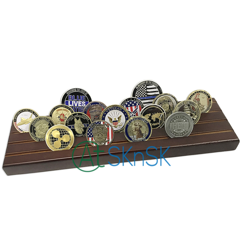 4 Rows Military Challenge Coin Display Stand Rack, Solid Wood, Walnut Finish, MARINE CORPS USMC Coin Wood Display Stand, no coin4 Rows Military Challenge Coin Display Stand Rack, Solid Wood, Walnut Finish, MARINE CORPS USMC Coin Wood Display Stand, no coin