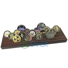 цена на 4 Rows Military Challenge Coin Display Stand Rack, Solid Wood, Walnut Finish, MARINE CORPS USMC Coin Wood Display Stand, no coin