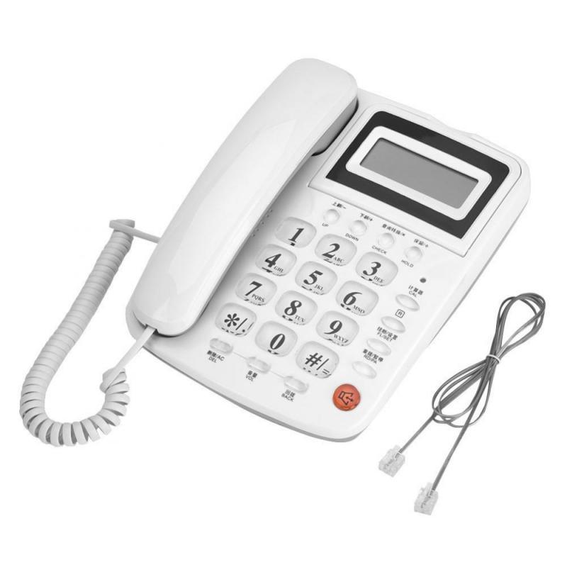 White Home Office Telephone Battery Free Desktop Landline