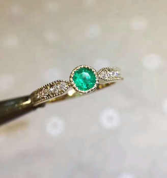 Natural green emerald gem Ring Natural gemstone Ring S925 sterling silver Fashion elegant Exquisite round women party Jewelry - DISCOUNT ITEM  17% OFF Jewelry & Accessories