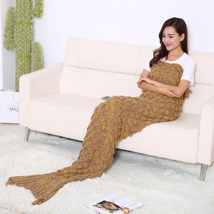 Bedding 190*90 Mermaid Blanket Of Knitting Mermaid Tail Winter Blanket Children Sofa Mat Home Textile