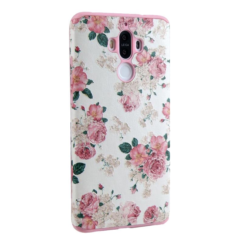 №Muchacha rosada para Huawei mate 9 caso silicio completo 3D alivio ...