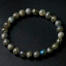 Класс Натуральный Индийский Лабрадорит камень Круглый бисер 8 мм Lucky серый синий камень для женщин мужчин браслет Шарм ювелирные изделия подарок