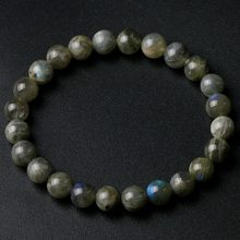Grade A Natural India Labradorite Stone Round Beaded 8mm Lucky Gray Blue Stone Women Men Bracelet New Charm Jewelry Gift(China)