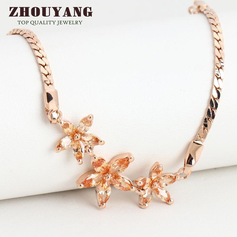 ZHOUYANG Top Quality ZYH020 Three Golden Flowers Rose Gold Plated font b Bracelet b font Austrian
