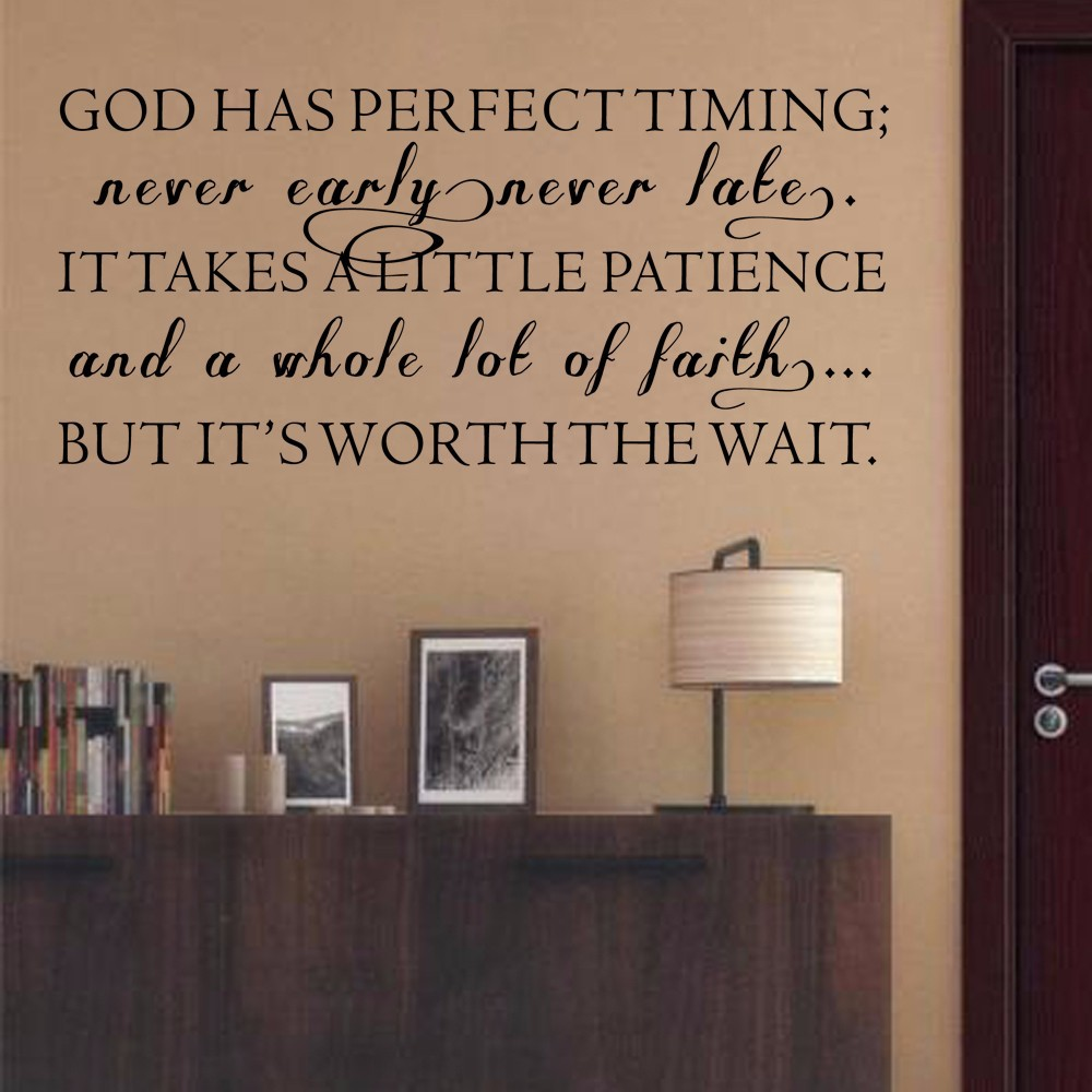 Christian Wall Decal God Has Perfect Timing Phrase Decal Quote Wall