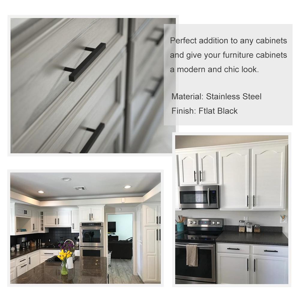 Door Pull Drawer Wardrobe Cupboard Handles Matt Black Stainless Steel Goldenwarm 15 X Kitchen Cabinet T Bar 192mm