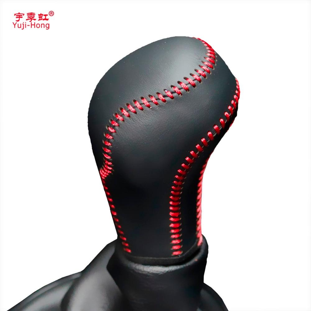 Yuji-Hong Car Gear Covers Case For Citroen C4 2013 C-QUATRE Manual Gear Shift Collars Genuine Leather Cover