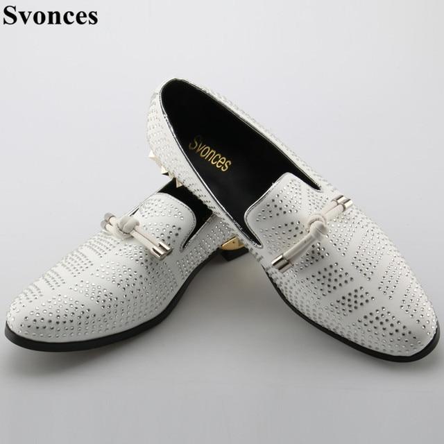 0b9f53279b1 Svonces Big Size 46 Designer Men Suede Dress Shoes White Wedding Shoe Party  Crystal Men Loafers Knot Smoking Slipper Male Flats