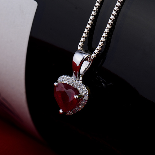 New heart 6mm solid 14k white gold diamond red ruby pendant hot heart 6mm solid 14k white gold diamond red ruby pendant hot sale fine jewelry for girlfriend anniversary gift in pendants from jewelry accessories on aloadofball Image collections