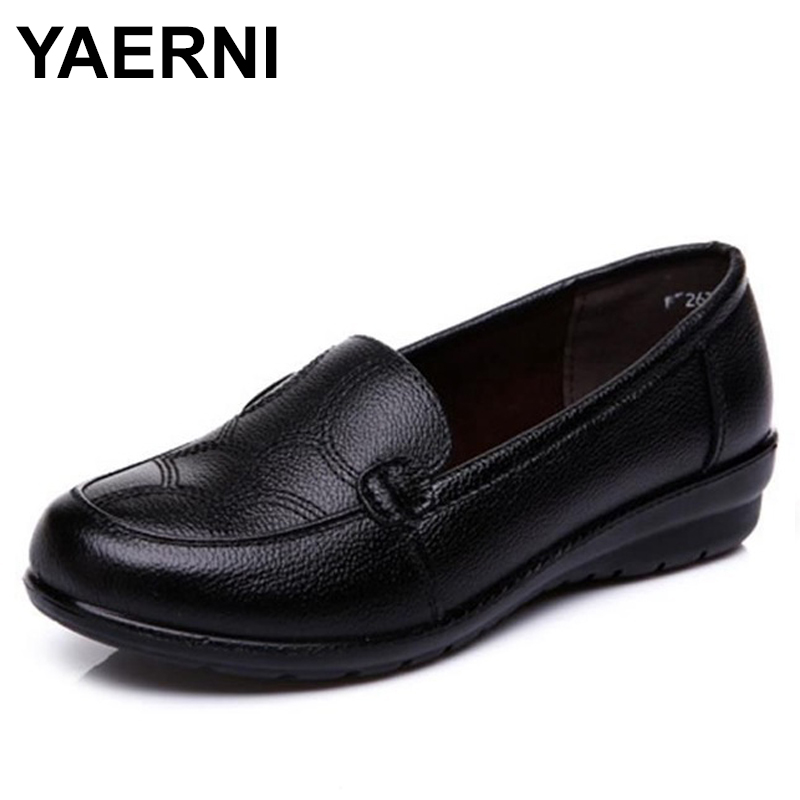YAERNI Women Shoes Spring Soft Soled Mother Black Single Shoes Leather Non-slip Casual Comfortable Middle-aged Ladies Flat Shoes