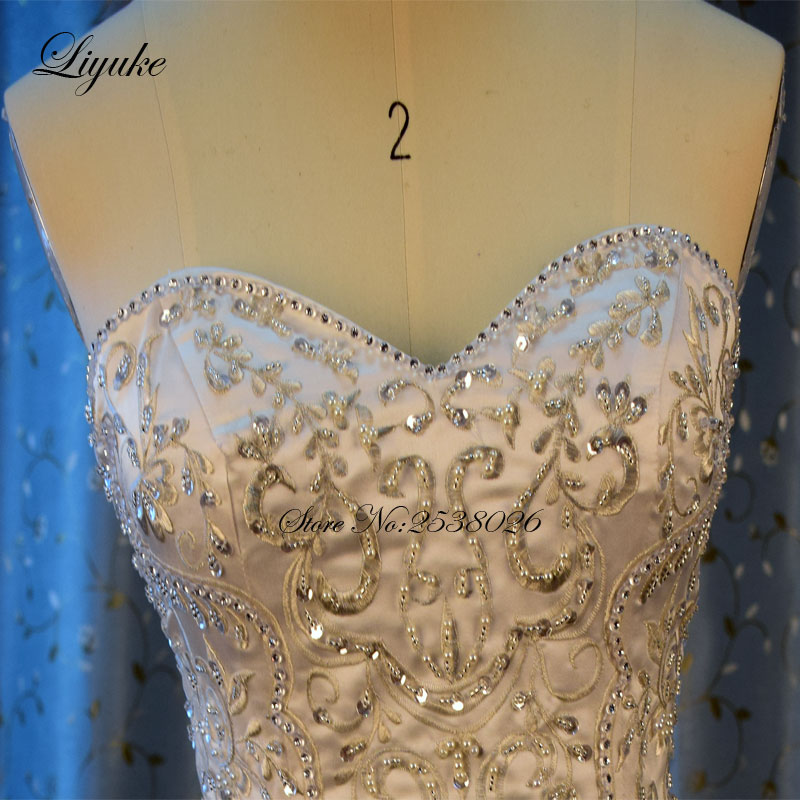 Liyuke borduurwerk zeemeermin trouwjurk nieuwe lieverd luxe - Trouwjurken - Foto 3