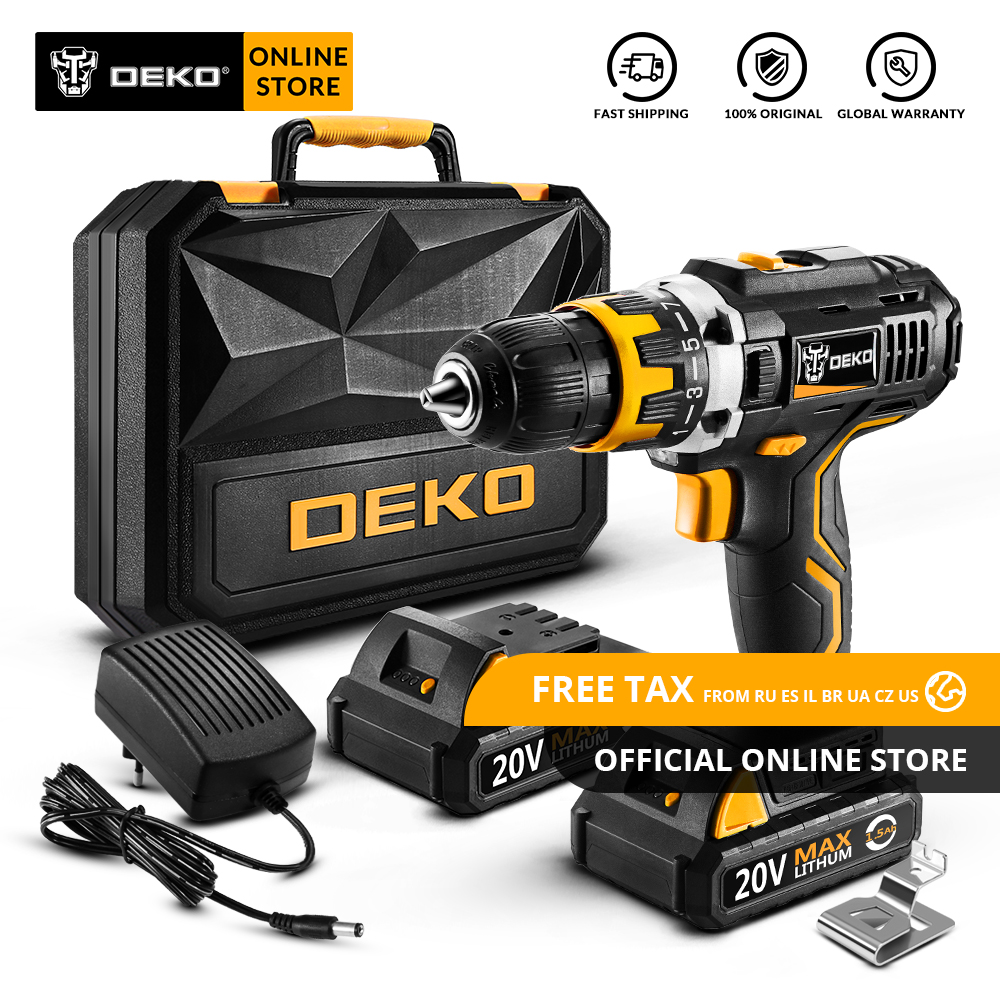 Original DEKO GCD20DU2 20V MAX Cordless Drill Electric Screwdriver Lithium Ion Mini Power Driver Variable Speed 2 Battery X Box