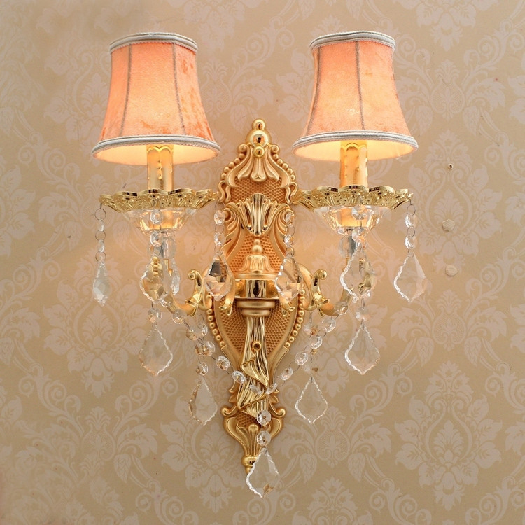 Gold Wall Sconce with lamp textile shade Modern Wall Lights for Bedroom Wall Sconces Living Room Crystal Wall Lamps for Reading luxury wall sconce fixture k9 crystal wall light sconces home decor wall lamps beside modern led lights for living room bedroom