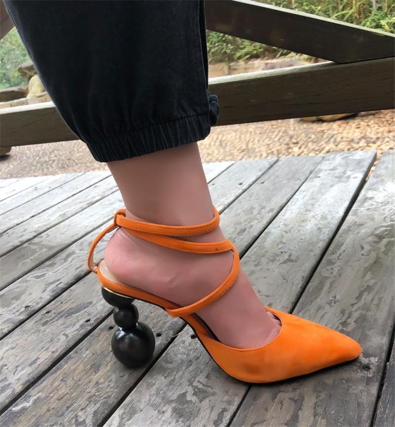 En Sandales brown Talons Daim Bout Black Couverture Femmes Talon Individuels Spartiates orange Catwalk Étrange Pointu Sexy Lanières Croix FUAq0