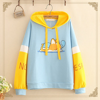 WXCTEAM Harajuku Cute Hooded Sweatshirt Preppy Style Dog Print Pullover Hoodie Color Block Front Pocket Lace Up Loose Hoodie New