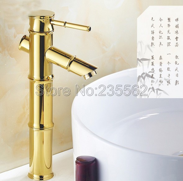 NEW Golden Brass Bathroom Basin Faucet Single Lever Vessel Sink Mixer Taps Bamboo Style Finish lnf046NEW Golden Brass Bathroom Basin Faucet Single Lever Vessel Sink Mixer Taps Bamboo Style Finish lnf046