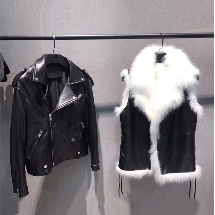 genuine sheepskin leather jacket with fox fur lining vest inside two parts women black coats turn collar feminina women's cloth