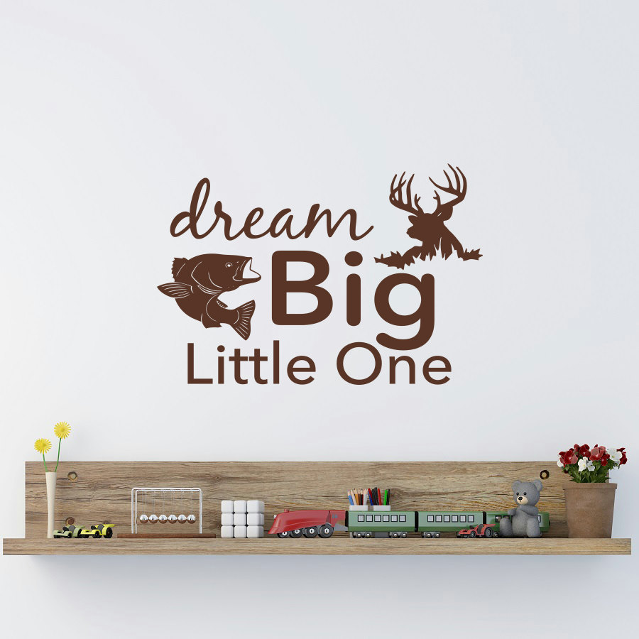 Dream Big Little One Wall Decal Rustic Nursery Decor- Fish And Deer Wall Art Stickers For Kids Room Baby Wall Decals Mural JW87