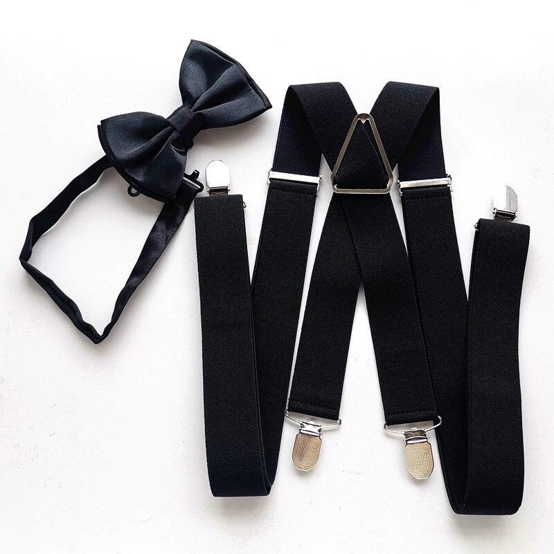 100 Cm 120 Cm 140 Cm Plus Size Adult Black Suspender Butterfly Bow Tie Adjustable Suspenders Neck Tie Set Wedding LB054