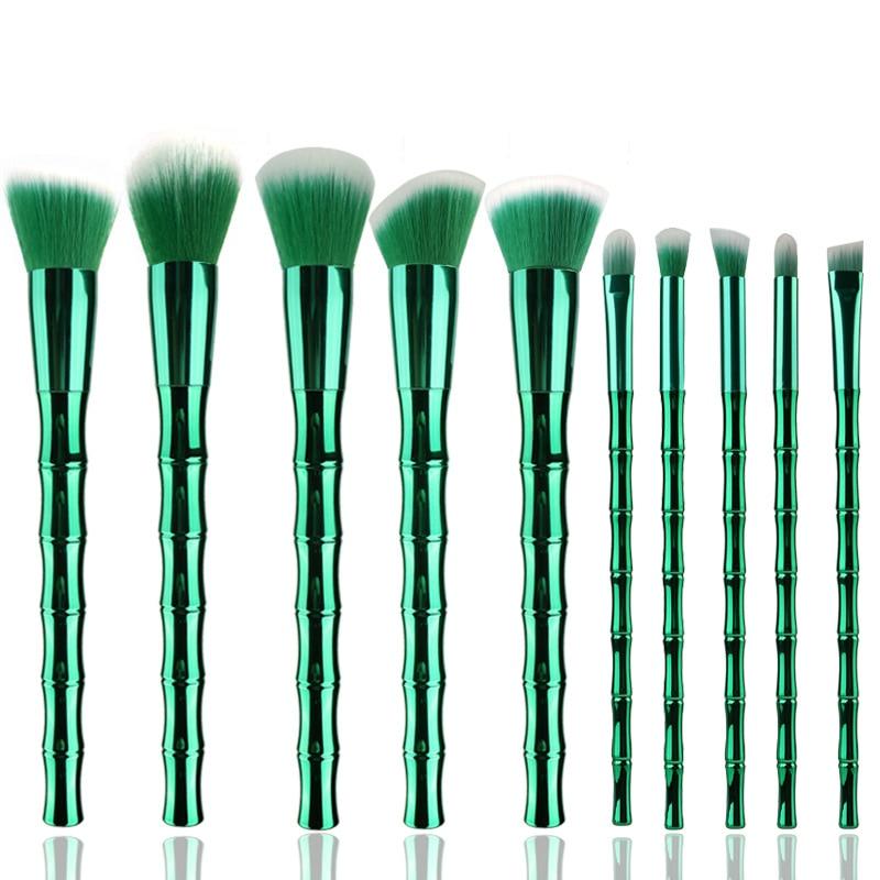 FOEONCO Unicorn Makeup Brushes Set 10pcs Bamboo handle Foundation Eyeshadow Lip Powder Brush Kabuki Make up Brush Kits Tool 1pc tart makeup brushes bamboo handle loose brush for powder foundation contour brushes kabuki kit