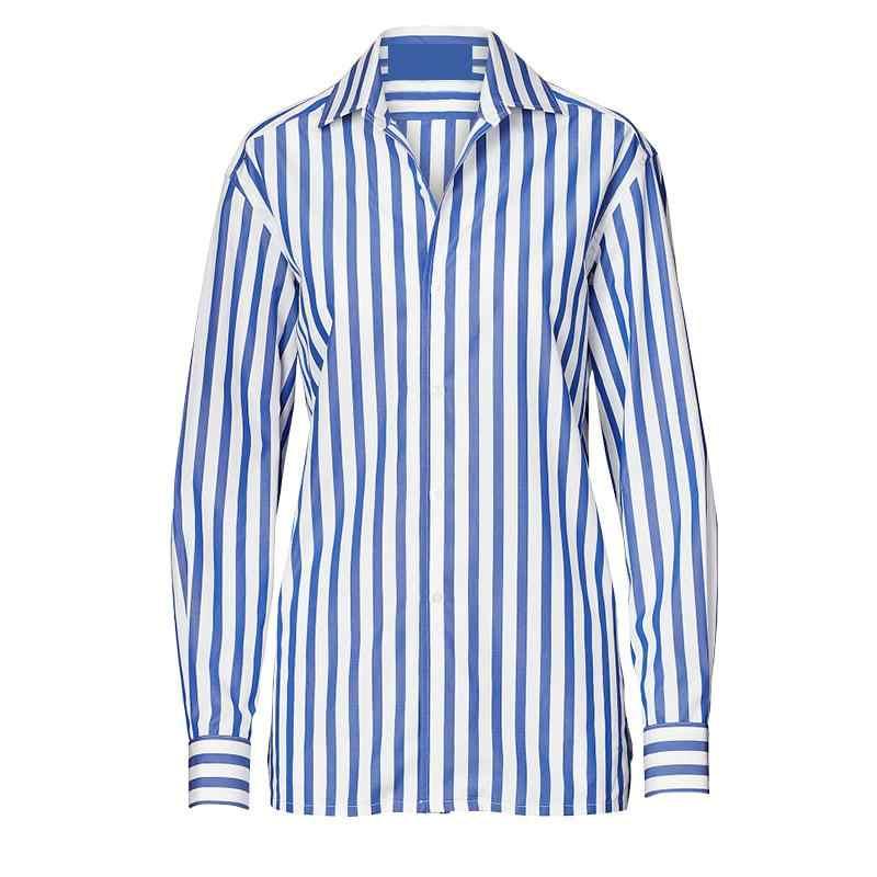 GETSRING женская рубашка с v-образным вырезом в полоску винтажная женская блузка с длинным рукавом Плюс Размер Повседневная рубашка женская 2019 новая сексуальная