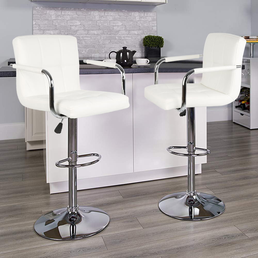2PCS White Adjustable Bar Stools Kitchen Stool Bar Pub Chair PU Leather Rotatable Lifting Chair Ergonomically 150kg Loading HWC