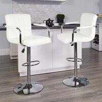 2PCS White Adjustable Bar Stools Kitchen Stool Bar Pub Chair PU Leather Rotatable Lifting Chair Ergonomically 150kg Loading HWC