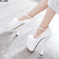 Sexy ultra high heels women pumps thin heels single shoes PU leather women shoes 20cm heel plus size size34 47
