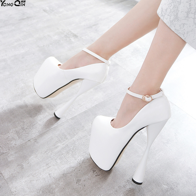 Sexy ultra hauts talons femmes pompes talons minces chaussures simples PU cuir femmes chaussures 20 cm talon grande taille size34-47